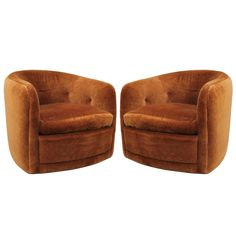 Pair of Milo Baughman Swivel and Tilt Barrel Back Chairs | From a unique collection of antique and modern swivel chairs at https://www.1stdibs.com/furniture/seating/swivel-chairs/