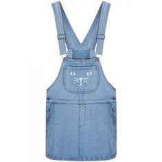 LUCLUC Blue Cat Pocket Demin Modern Suspender Dress (1200 TWD) ❤ liked on Polyvore