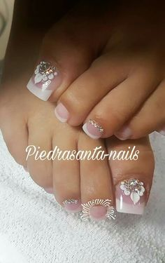 Pedicure Designs, Pedicure Nail Art, Toe Nail Designs, Toe Nail Art, Pretty Toe Nails, Cute Toe Nails, Acrylic Toes, Nails Only, Feet Nails