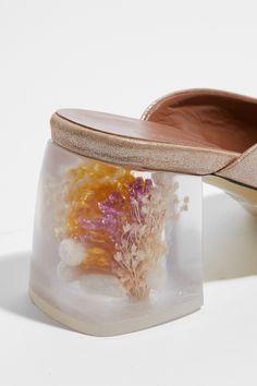 Amélie Pichard Bb mule in glitter gold & plexi.