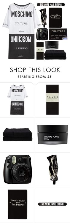 """No more nail biting..."" by beyond-my-thoughts ❤ liked on Polyvore featuring Moschino, Falke, Home Source International, Koh Gen Do, Fujifilm, Aesop, Rich and Damned and Bershka"