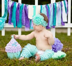 Mermaid theme First Birthday Giant Fake Cupcake Photo Props / Party Centerpiece…