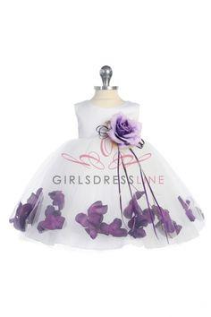 Infant Eggplant Rose Petal Flower Girl Dress KD-195BE on www.GirlsDressLine.Com