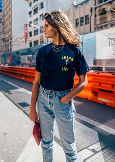 Shop here look: Chesca Athas on STREET365 for CHRONICLES OF HER. Wearing China Girl tee and vintage jeans.