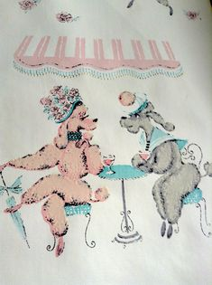 Poodle Wallpaper piece.  Pink & Grey Poodles on plastic cloth Wallpaper.   Mid century Kitsch. Too Damn Groovy.