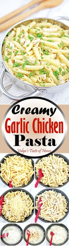 The name say it all! This Creamy Garlic Chicken pasta is fairly quick and easy to prepare. I love the pasta with lots of creamy sauce. So you may get not only chicken and pasta in your bite but a generous scoop of the delicious sauce too. Try this 30 minute dinner tonight, I guarantee that you and your family will not be disappointed!