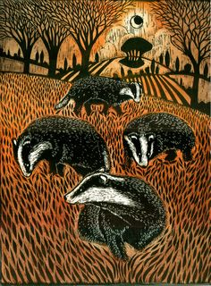 Badger Family, Woodcut - Ian MacCullough