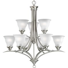 Progress Lighting P4329 Trinity 9 Light Chandelier with Frosted Glass Shades - 1 Brushed Nickel Indoor Lighting Chandeliers