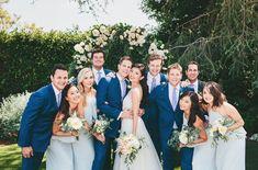 A Totally Charming Backyard Wedding in Los Angeles Amsale Bridesmaid, Bridesmaid Dresses, Bridesmaids, Blue Wedding Dresses, Wedding Colors, Yard Wedding, Just Married, California Wedding, Wedding Couples