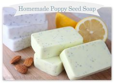 Homemade Poppy Seed Soap Recipes: A lemon one for the kitchen and a sweet almond soap shea butter recipe to pamper your hands. The easiest soap you will ever make.