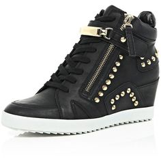 River Island Black studded wedge high top sneakers ($110) ❤ liked on Polyvore featuring shoes, sneakers, black, plimsolls / sneakers, shoes / boots, women, wedges shoes, black shoes, wedge sneakers and black sneakers