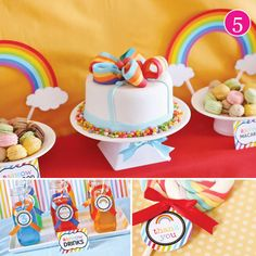 Bow cake for a rainbow party