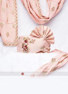Cotton Silk Pink Wedding Safa #rajwadi #mensaccessories #mensfashion #ethnicwear #mala #mensmala #malaforsherwani #ethnicstyle Wedding Groom, Wedding Men, Wedding Suits, Wedding Attire, Couple Wedding Dress, Wedding Dresses Men Indian, Sherwani Groom, Wedding Sherwani, Groom Wear