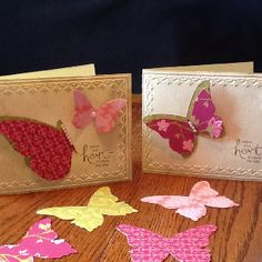 Stampin Up! Beautiful Butterflies Bigz die; tulip embossing folder & Basic Pearls Jewels