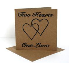 Linocut Card.  Wedding Card.  Anniversary Card.  Two Hearts One Love.
