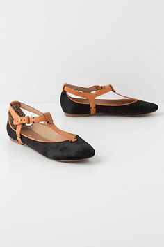 i would love to wear these with skinny jeans....  in my opinion, a perfect fall flat. Textural T-Straps #anthropologie