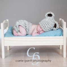 Diaper Cover Hat SET / Oatmeal Chunky Baby Bear / by DaddyMackHats, $40.00