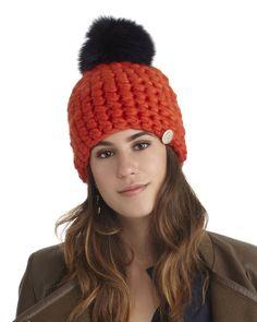 Mischa Lampert Merino Wool Orange Beanie with Pom
