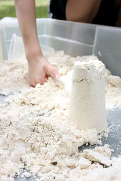 Moonsand = 8 cups flour + 1 cup baby oil….Kids love it! You'll find great storage containers with lids at True Value.