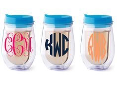 Personalized Bev2go stemless wine glass Aqua lid by Dawlens, $13.00