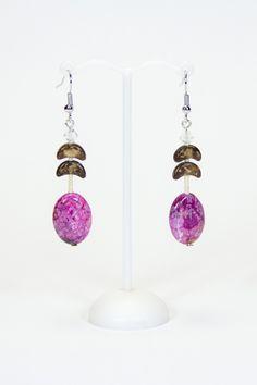 Boucles d'oreilles agates roses, bois #gadhorre #jewelry