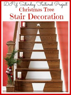 Add holiday cheer to an unexpected place this season with this easy to do Christmas Tree Stair Decoration