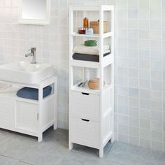 SoBuy Mobiletto Da Bagno Di Alta Mobile A  · Bathroom Storage  CabinetsBATHROOM ...