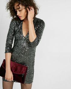 Be the life of the party in dazzling sequins! This form-fitting dress features a silky lining, a deep v-neckline and sparkly sequins from head to toe for extra wow factor.