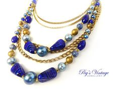 Beautiful 1950s Gold Tone Multi Strand Cobalt Blue Art Glass and Bead Vintage Necklace