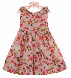 NEW Sarah Louise Rose Flowered Dress with Ruffled Neckline $75.00
