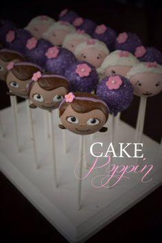 Doc Mcstuffins cake pops www.cakepoppin.com