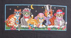 Cat Crossstitch Cool Cats on Black Aida by LookingGlassDesigns1, £120.00