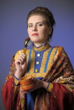 girl in traditional russian folk dress Stock Photo