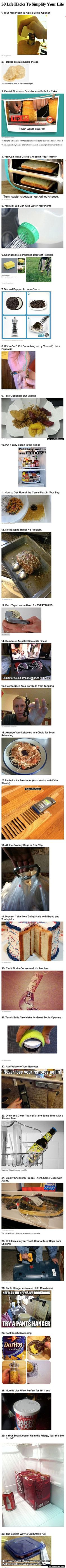 Here are 30 brilliant DIY life hacks that will make your days easier.  Most of these will have you saying