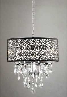 Indoor 4-Light Chrome/Crystal/Metal Bubble Shade Chandelier - $155.99 [ Visit Store » ]       The clear, crystal and metal bubble shade adds a touch of elegance to this lighting