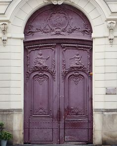 Paris Photography - Purple Door in Saint Germain, Paris Architecture Photography, Fine Art Photograph, French Home Decor, Large Wall Art