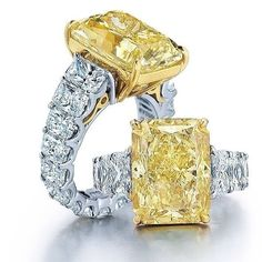 gorgeous yellow and white diamond rings
