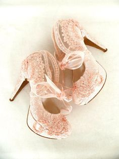"Wedding Shoes- Bridal Shoes Embroidered Blush Lace with Pearls and Ribbons, 5""heels"