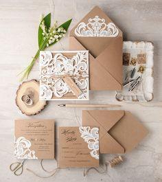 Rustic ivory laser cut kraft paper wedding invitations #rusticwedding…