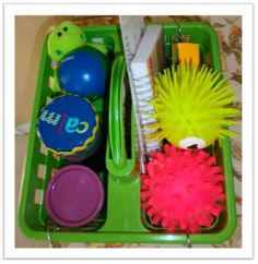 Calming Caddy/Sensory Break I did something like this for a student a few years ago who worked for little breaks where he chose from a box of activities similar to this.  Crayons & Lesson Plans: Search results for calming caddy