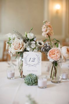 Succulents, garden roses, anemones wedding centerpiece. simple but beautiful <3 from http://lovemedo.smugmug.com/JanelleandDave82412/Favorites/25372122_Knkmsd