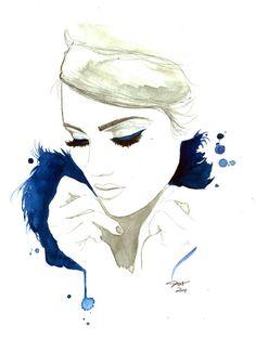 Blue For You, impression de création mode originale aquarelle et techniques mixtes par Jessica Durrant