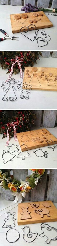 Amazing wire wrap idea for DIY home Christmas decor by Glenda - Christmas Crafts Diy Wire Crafts, Metal Crafts, Christmas Projects, Holiday Crafts, Diy And Crafts, Decor Crafts, Noel Christmas, Christmas Ornaments, Wire Ornaments