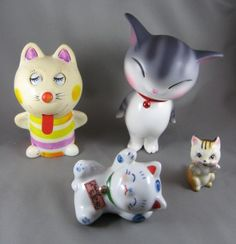from back left: vintage Japanese windup toy, U. toy company, vintage cat found in tea, lounging good luck cat Japanese Cat, Cute Japanese, Vintage Japanese, Vintage Cat, I Love Cats, Scrap, Objects, Day, Wordpress