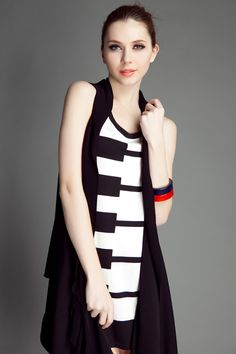 Tank Dress With Black And White Piano Keyboard Print