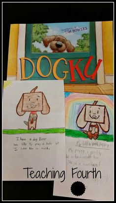 For an easy and fun haiku activity, read Dogku by Andrew Clements. Then have students write their own doggie haiku poems and illustrate. Poetry Game, Poetry Unit, Writing Poetry, Poetry Books, Haiku Poems For Kids, Poetry For Kids, Kids Poems, Poetry Lessons, Writing Lessons