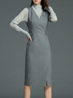 Shop Midi Dresses - Gray Sheath V Neck Sleeveless Midi Dress online. Discover unique designers fashion at StyleWe.com.
