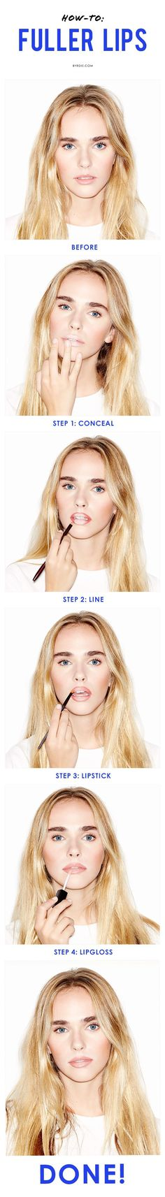 4 easy steps and 4 products to turn thin lips into a plump, pillowy pout (via @byrdiebeauty):