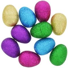 Easter Glittery Plastic Egg Containers Brand New in Packaging 10 count