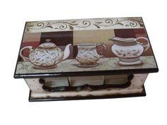 Caixa de chá Bules e Xícaras 4 | Bragatto Atelier | Elo7